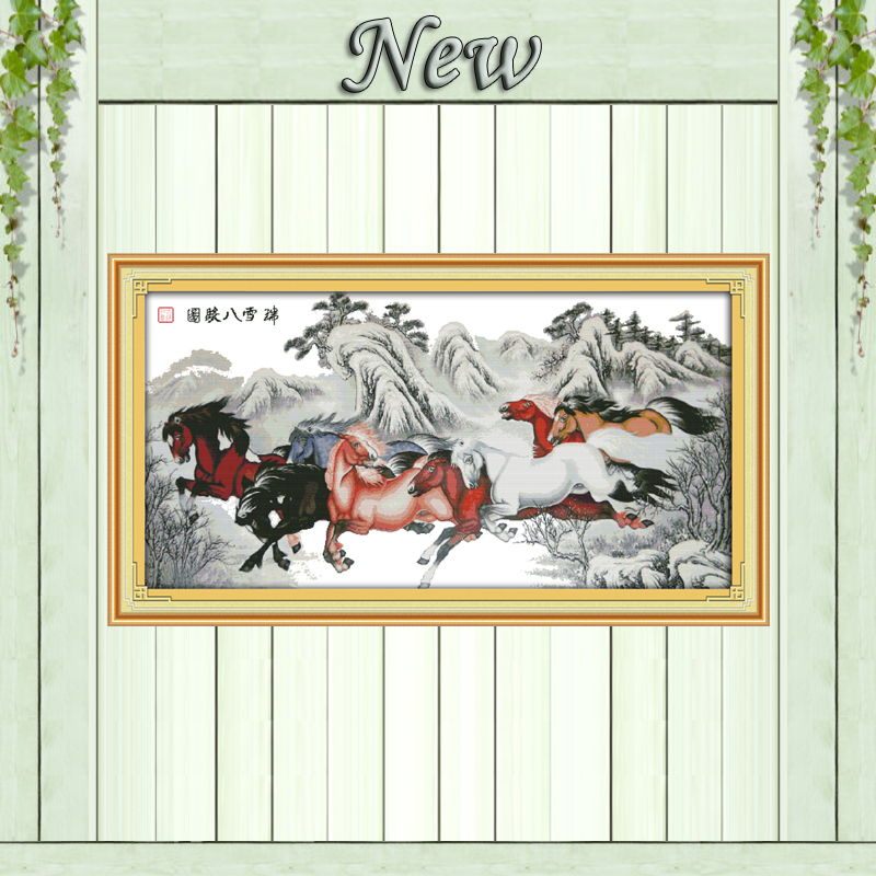 Horse winter snow scenery paintings counted printed on canvas DMC 14CT 11CT Chinese Cross Stitch Needlework Sets Embroidery kits