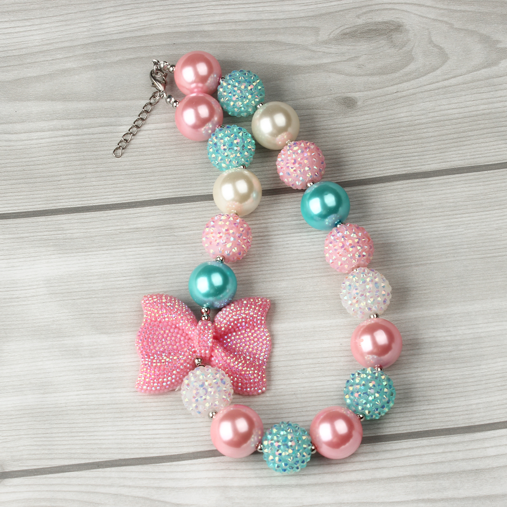 Wholesale 3PCS Pink Rhinestone Bow Charm Gumball Bubblegum Beaded Chunky Bead Necklace for Girls Kids Children Photo Prop(China (Mainland))