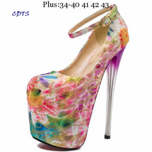 Crossdresser Plus:34-42 43 Spring 19/20cm thin high heels Stiletto Shoes Round Toe Platform Women Pumps Sweet Lace party - long li's store drop shipping for you