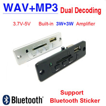 Buy 3.7V-5V Power MP3 WAV Format decoder board 3W + 3W Amplifier SD/MMC U Disk MP3 module decoding audio Support Bluetooth sticker for $3.64 in AliExpress store