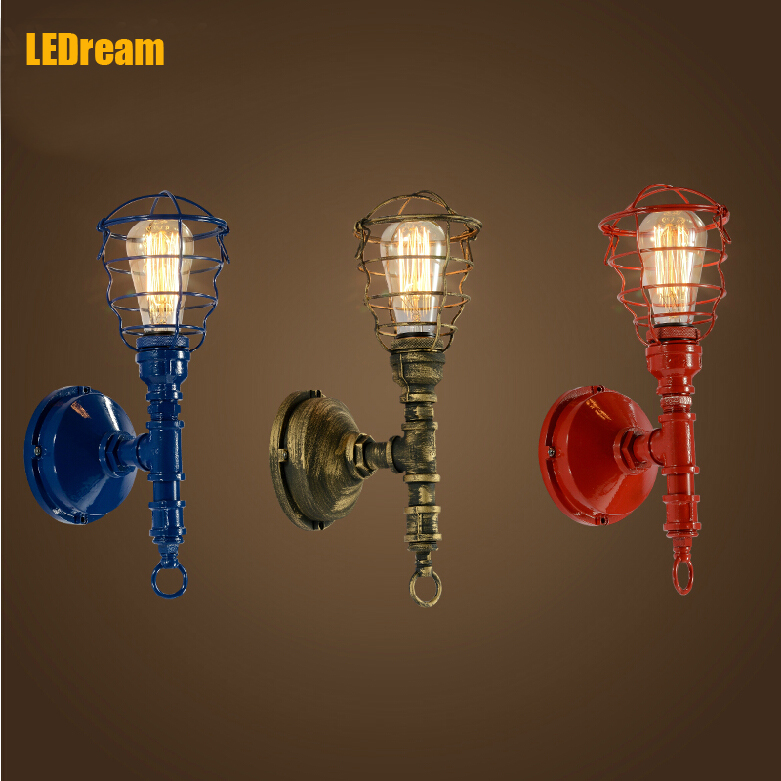 American industrial loft wind , wrought iron wall lamp Creative restaurant bar wall lamp light pipe wall lamp personality<br><br>Aliexpress