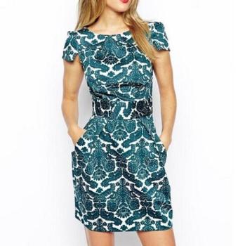 Qz1923 новинка женская элегантный сладкий зеленый королевский печать платье старинные ...