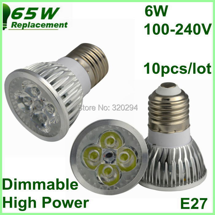 10pcs/lot E27 100-240V Cool/warm White Dimmable LED Spotlight Lamp Bulb Bulbo 500LM 6W Replacement 65W No Need Dimmer Free Ship<br>