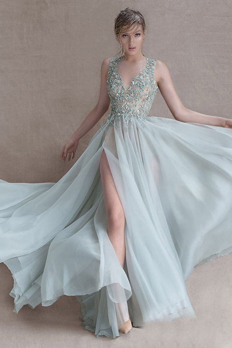 New Arrival 2015 A-Line Floor Length O neck Sheer Tulle Prom Dresses High Slit Party Gowns Appliques Beads Long Prom Dresses(China (Mainland))