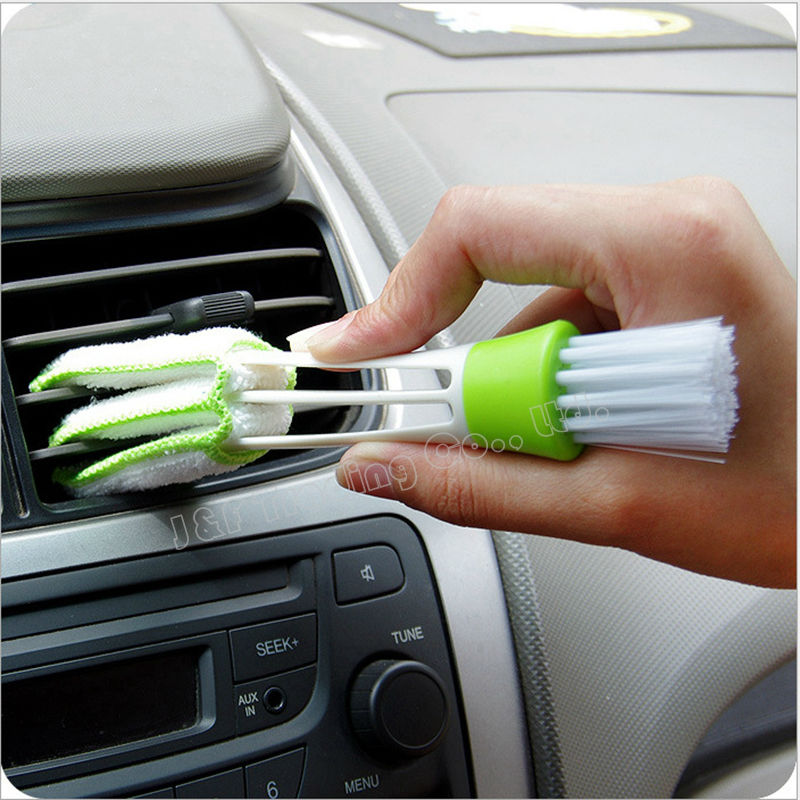 Automobile Car Air Conditioner Vent Outlet Brush Keyboard Brush Gap Cleaning Corner Instrument Panel Shutter Double Head Brush(China (Mainland))