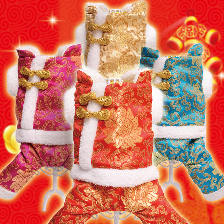 new pet dog costume clothes in winter Tactic four small dog pet clothe Dog Festival Party Dog Dress Pet Cat Puppy Tang Suit(China (Mainland))
