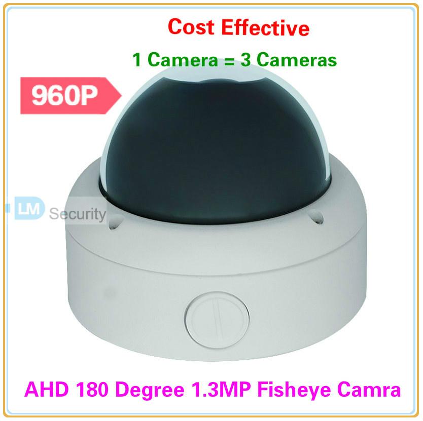 Vandalprood Dome 1.3 Megapixel AHD Camera with 180 Degree Fisheye Lens 960P AHD Fisheye Camcorder Surveillance Equipment(China (Mainland))