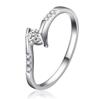Forever Brilliant Real Diamond Ladies Band Center 0.07ct Natural Diamond Ring In 9K Famous Brand Engagement Ring Not Simulated(China (Mainland))