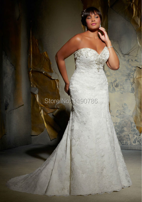 Fashionable sweetheart strapless lace plus size mermaid for Colored plus size wedding dresses