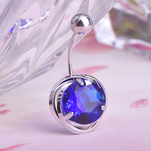 Sapphire White Gold Zircon Blue Belly Button Rings Body Piercing Navel Sexy Jewellery Women Bijou Pircing Hot Selling Blucome