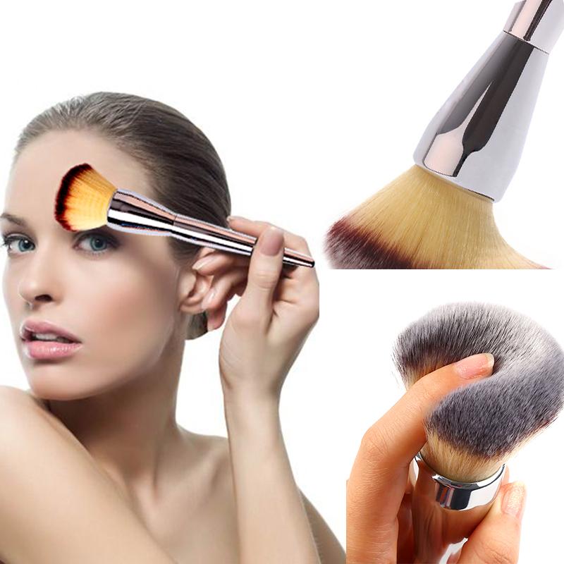 1pcs Venta Caliente Cara Rubor En Polvo de Maquillaje Mango de Color Plata Grande cosmetic Maquillaje Cepillos de Belleza(China (Mainland))