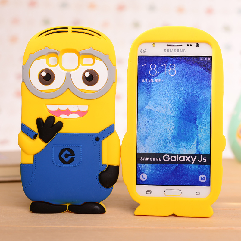 For Galaxy J5 3D Cartoon Cute Minions Minnie Winnie Despicable Me 2 Silicon Soft back cover phone Case for Samsung GALAXY J500(China (Mainland))