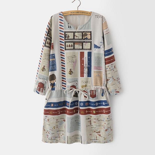 Linen Dress Women 2015 New Fashion Full Body Printed Pattern Waist Drawstring Vestido De Lino(China (Mainland))