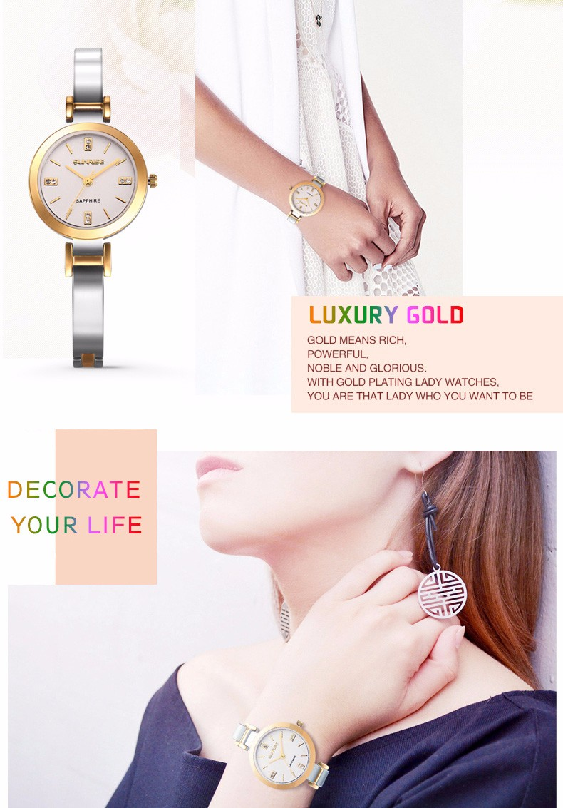 SUNRISE Luxurious Gold Girls Quartz Watches Women Diamond Water Resistant Watch Bracelet Easy Wristwatch SL712 reloj de cuarzo