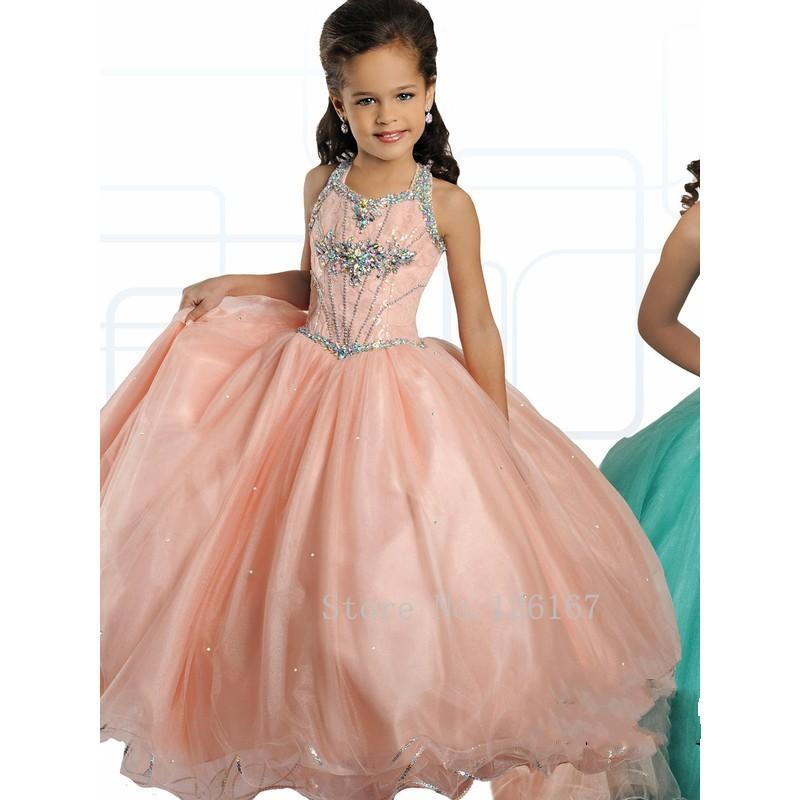Обнаженная Розовый Мятно-Зеленый Цветок Девочки Платья младший Театрализованное Платье Холтер Бисером Блестками Платья для Девочек В первое причастие CGF021