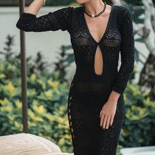 2019 סרוגה לבן סרוג חוף כיסוי למעלה שמלת טוניקת ארוך Pareos ביקיני כיסוי ups לשחות לחפות חלוק Plage וחוף(China)