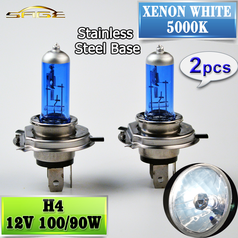 2 PCS(1 Pair) 5000K 12V 100/90W H4 Halogen Bulb Xenon Dark Blue Glass Car HeadLight Lamp Super White(China (Mainland))