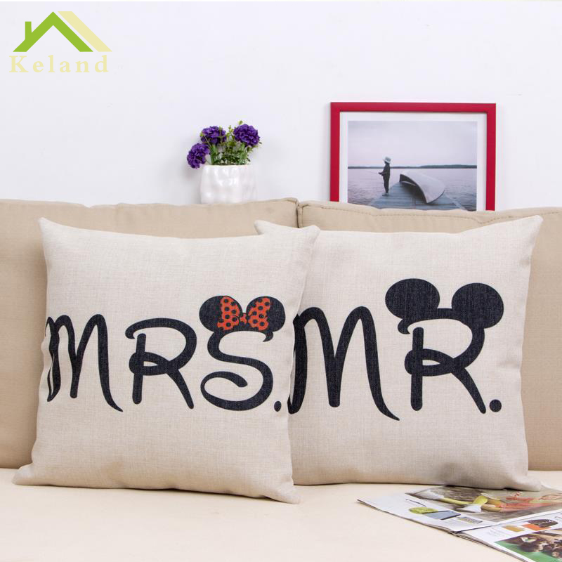 Lovers Cushion Cover Mr & Mrs Printed Cojines Cushions Home decor Cotton Linen 45*45cm Car seat Cushions Throw Pillow Case(China (Mainland))