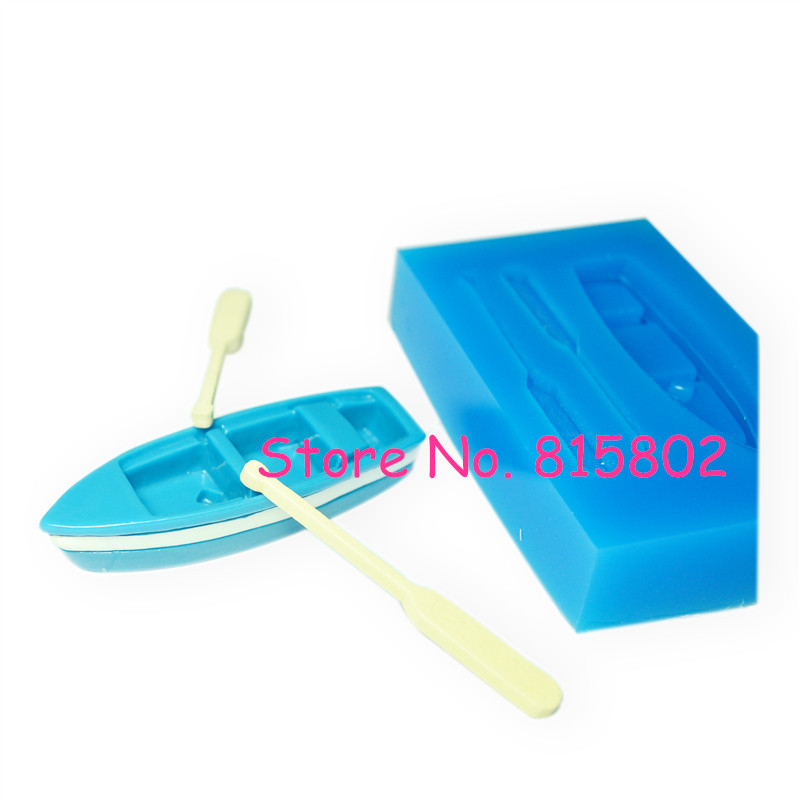 Free Shipping PYL208U 3D Rowboat with Oars Mold 3D Wooden Boat Shelf With Oars Moulds 3D Boat Mould Flexible Push Silicone Molds(China (Mainland))