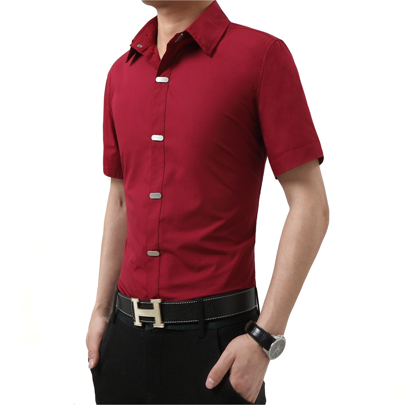 2016 summer style solid color shirt mens casual clothes for Fitted short sleeve dress shirts
