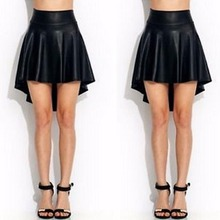 Buy Sexy Women Lady Girls Black Faux Leather Mini Skirt High Waist Irregular Solid Skirt for $4.31 in AliExpress store