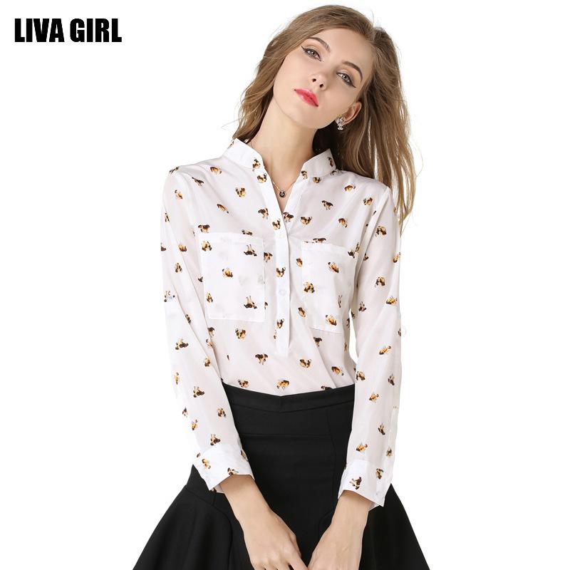 Camisa Feminina Plus Size The European Station Code Printed Chiffon Shirt Collar Sleeve Head Dog Long Sleeved Blouse Wholesale(China (Mainland))