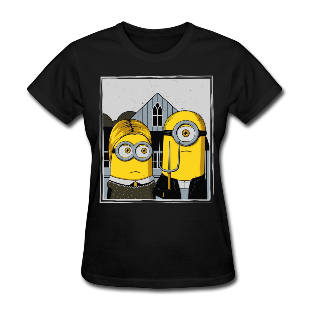 Short sleeve womens t shirt american minion custom cool for Shirts with custom logo
