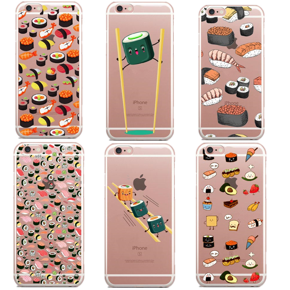 Japanese salmon Sushi Phone Case Iphone 6 5 5S 7 Plus SE Transparent Silicone TPU Back Cover Iphone 6s Plus Coque Fundas