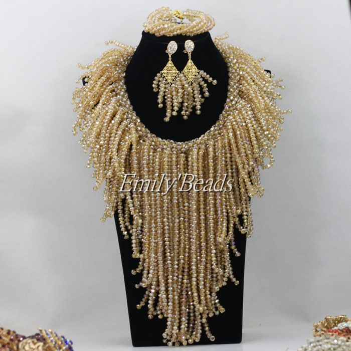 Chunky African Costume Crystal Beads Jewelry Set Champagne Gold Nigerian Wedding African Beads Jewelry Set Free Shipping AMJ871<br><br>Aliexpress