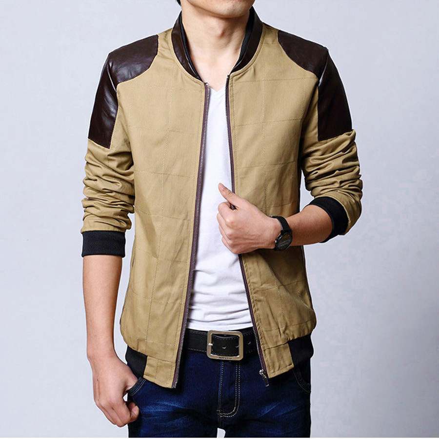 <font><b>New</b></font> Arrival Men Casual Wear <font><b>Jackets</b></font> PU Leather Patchwork Two Colors Slim <font><b>Looking</b></font> Youth Coat Large Size Comfortable Rib Sleeve