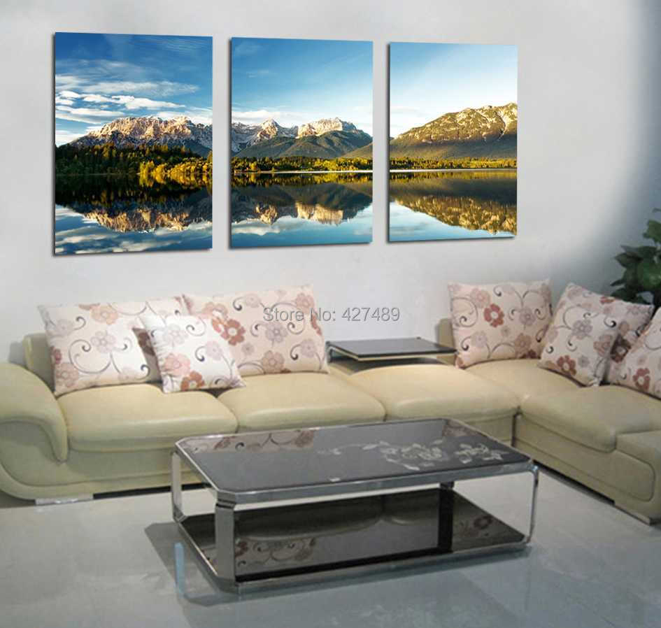 3 Panel modern wall art home decoration frameless oil painting canvas prints pictures P375 mountain lake beautiful scenery - Ann Taylor's Store store