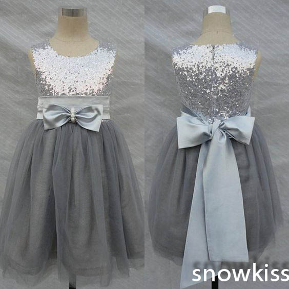 Фотография Cheap Silver gray bling sequins flower girl dress A-line pageant evening prom party birthday dresses for kid glitz with bow sash