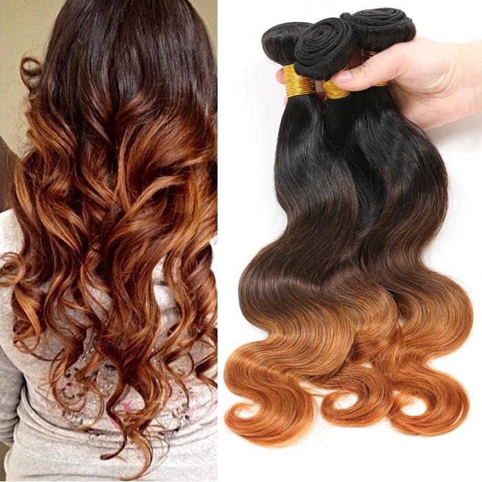 Grade 6A Ombre Peruvian Virgin Hair Body Wave, Ombre Hair Color 1b 4 30 3 Tone Ombre Hair Extensions Wholesale Hair Weave<br><br>Aliexpress