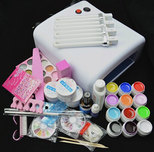 BTT-76 Professional Full Set 12 color UV Gel Kit Brush Nail Art Set + 36W Curing UV Lamp kit Dryer Curining Tools(China (Mainland))