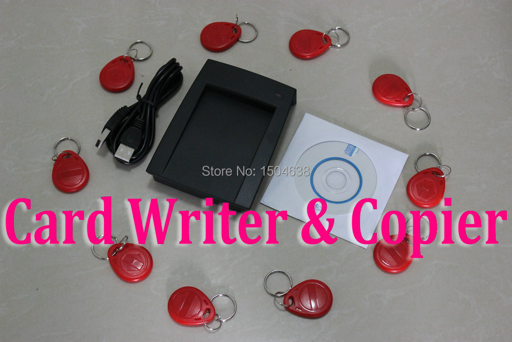 125khz RFID ID EM Card Reader & Writer&Copier/Duplicater+10pcs Writable key tag & 1pc card For Access Control ( T5557/ EM4305)(China (Mainland))