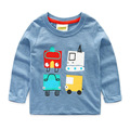 2016 New Next Spring Fall Boys Full Sleeve Kids Tees Cotton Comfortable Cartoon Cars Smart Children