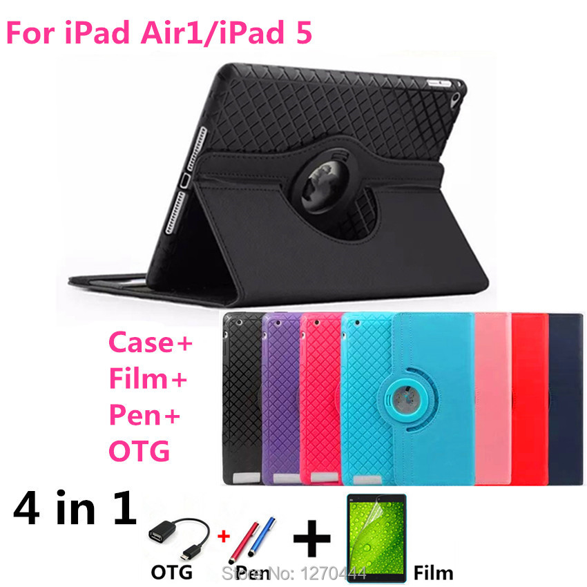 Luxury Magnetic Color Painted PU Leather For Apple iPad Air Stand Case For IPAD Air1 For iPad 5 Tabliet PC Cover+Film+Pen+OTG(China (Mainland))
