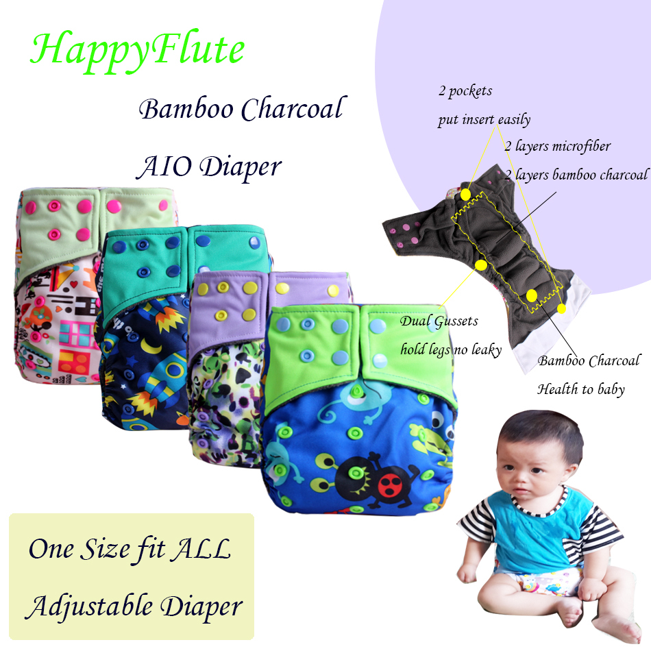 Minions! Happyflute AIO resuable cloth diaper Bamboo Charcoal Baby Cloth Diaper 1pcs freeshipping(China (Mainland))
