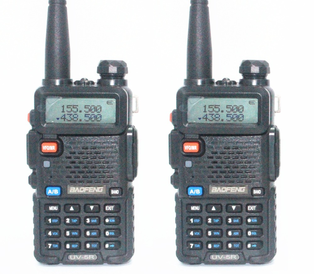 2pcs-New Baofeng Black UV-5R two way radio dual band 136-174MHz&400-520 MHz cheap Walkie Talkie with free shipping(China (Mainland))