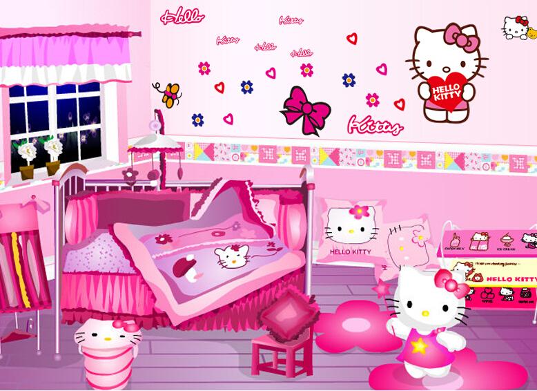 Hello-Kitty-Wall-Stickers-Kid-Room-Decor-Cartoon-Hello-Kitty-for-Home ...
