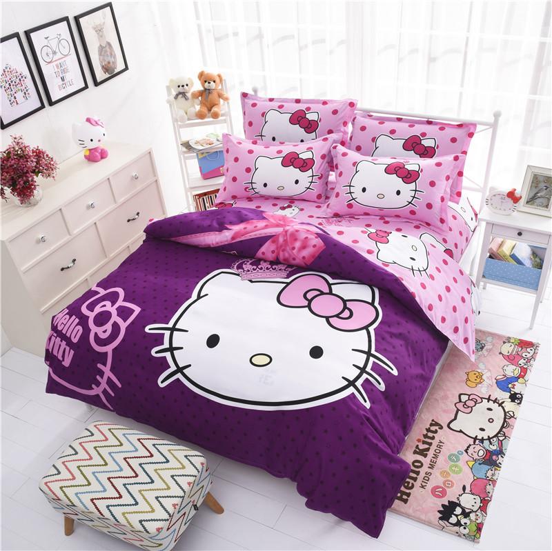 Factory Sale Cheap Cartoon Bedding Set 3d Hello Kitty Bedclothes Bed Linen 4pcs Duvet Cover Bed Sheet Pillowcase Free Shipping(China (Mainland))