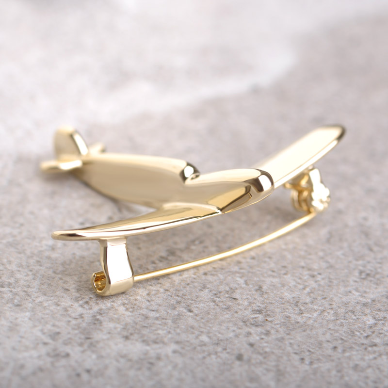 High Quality Gold Plated Plane Brooch Pin Cool Brooches For Kids Scarf Hat Backpack Cardigan Bijouterie Platinum Plated Broche(China (Mainland))