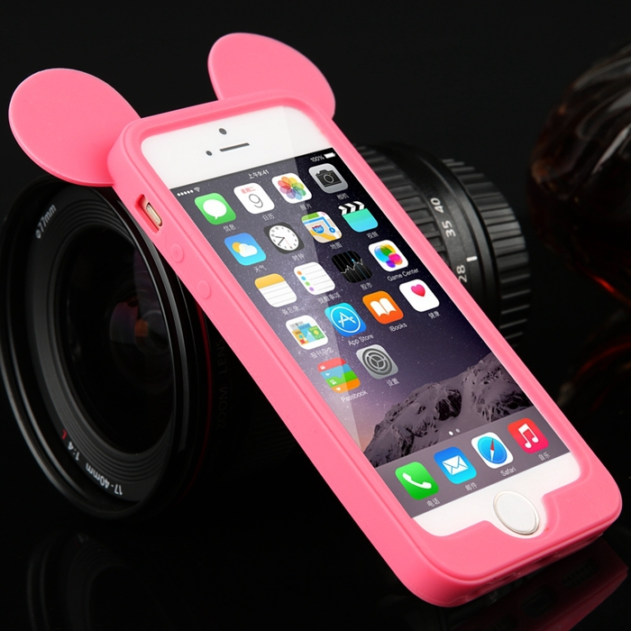 Free New Fashion Black 3D mouse ears silicon frame bumper for iPhone 5G 5 5S soft Rubber lovely cartoon case phone cover J010102(China (Mainland))