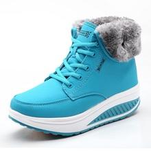Mujeres Nieve botas Cuñas Botines Zapatos Del Oscilación de Adelgazamiento de la Felpa Sólido Plataforma Punta Redonda Casual Zapatos de La Señora Botas de Invierno(China (Mainland))