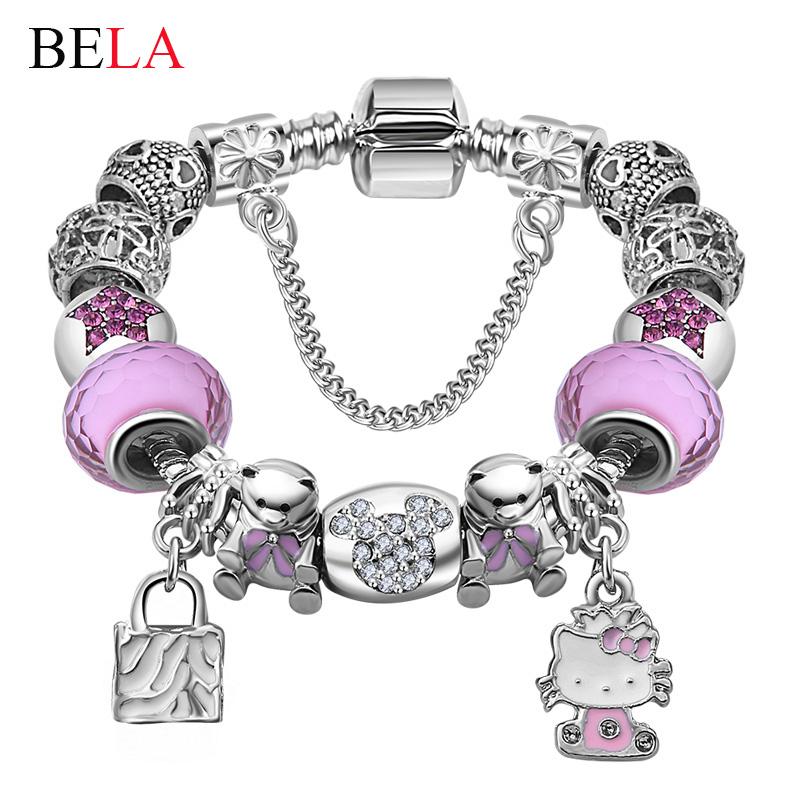 Cute Children Cat Hello Kitty Charms Bracelet for Kids Girls Murano Glass Beads Bracelet For Women Ladies DIY Fashion Jewelry(China (Mainland))
