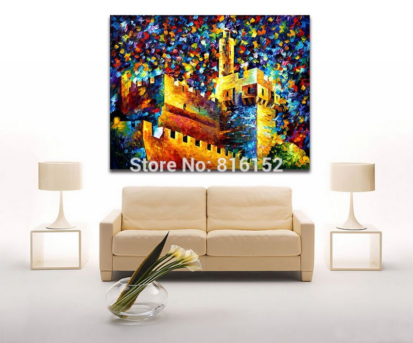 Buy Attractive 100% Hand-painted Western Architecture on River Mountain Canvas Painting Palette Knife Art Picture Home Decor cheap