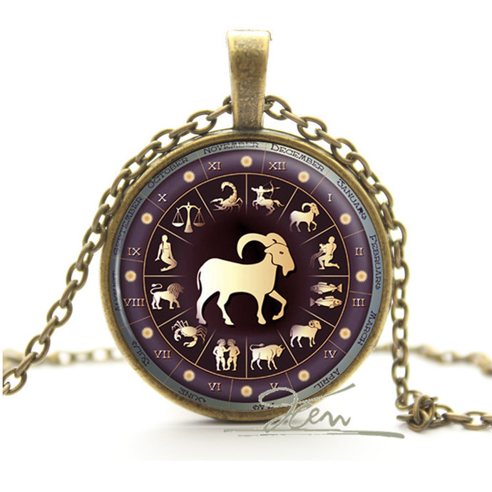 12pcs/lot Zodiac Necklace Pendant Photo Glass Cabochon Zinc Alloy Chain - Astrology Star Sign Jewellery - Personalised Xmas Gift(China (Mainland))