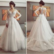 Vestido De Noiva 2017 New Arrival Tulle Long Sleeve Wedding Dress Elegant Court Train Lace Applique Bridal Gown Wedding Dress(China (Mainland))