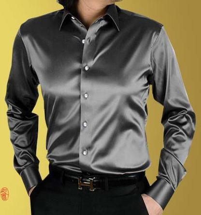 2014 men Spring long sleeve casual  shirt solid color fashion gold silk silks and satins shirt wedding dress shirtsОдежда и ак�е��уары<br><br><br>Aliexpress