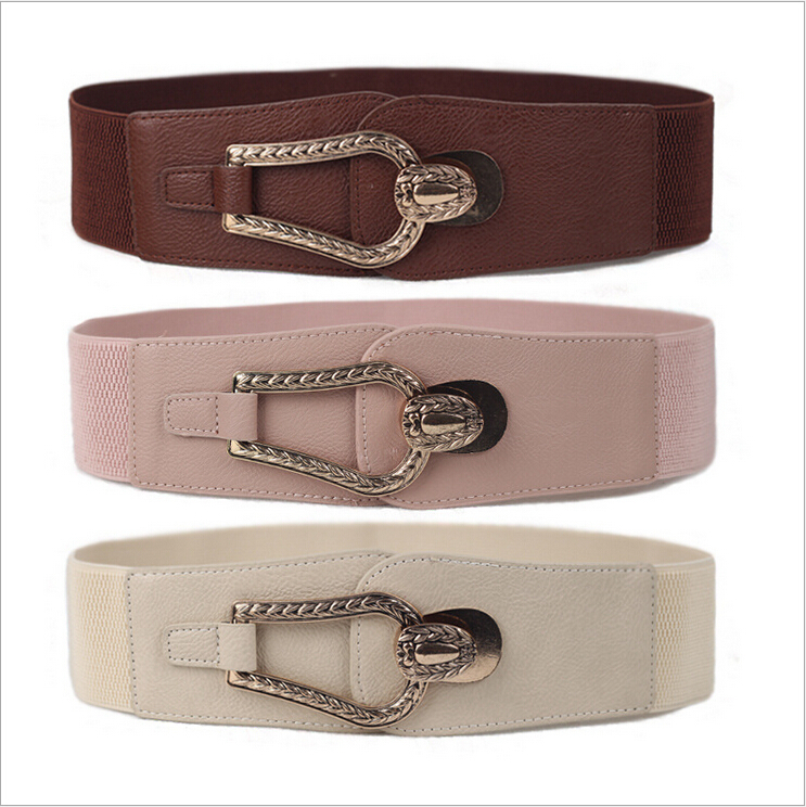 Women Belt Coat Korean Style Brand Designer Wide Elastic Waistband Waist 65 - 85cm Deep 6cm red black coffee beige pink Small GIFTER store